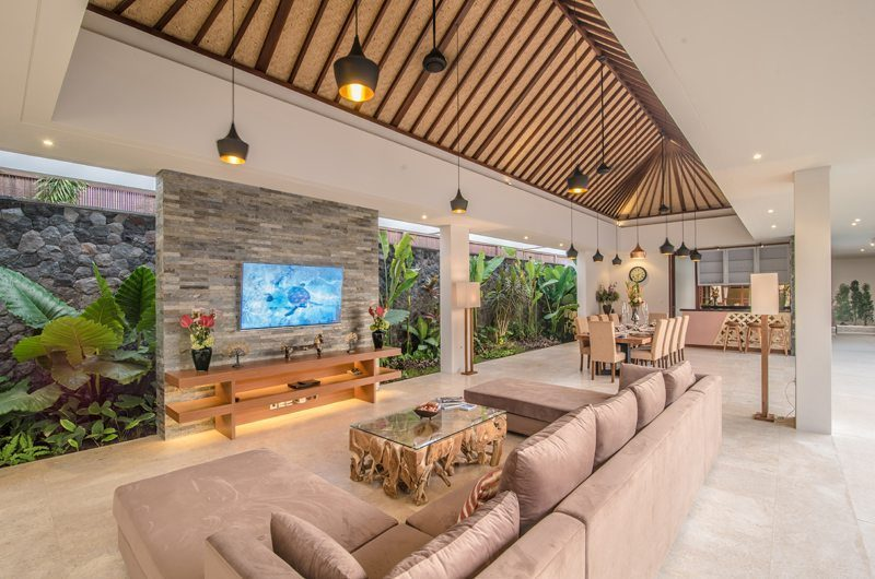 Freedom Villa Living Area with TV, Petitenget | 5 Bedroom Villas Bali