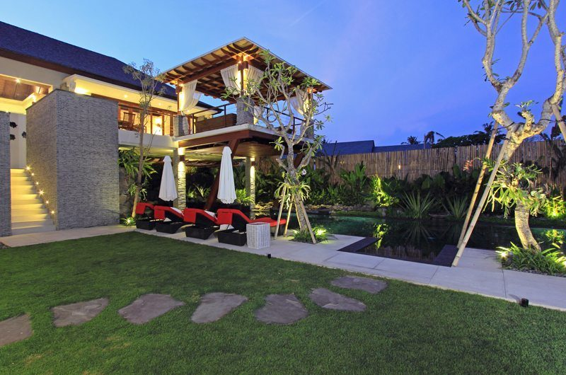 Kemala Villa Gardens and Pool at Night, Canggu | 5 Bedroom Villas Bali