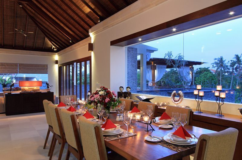 Kemala Villa Dining Area with Crockery, Canggu | 5 Bedroom Villas Bali