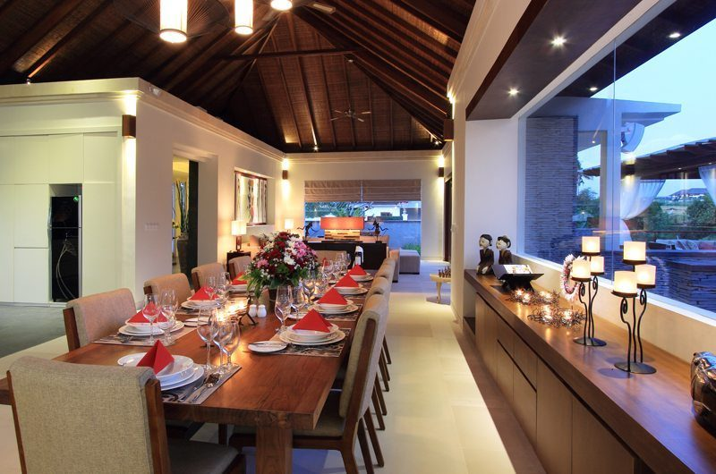 Kemala Villa Dining Area at Night, Canggu | 5 Bedroom Villas Bali
