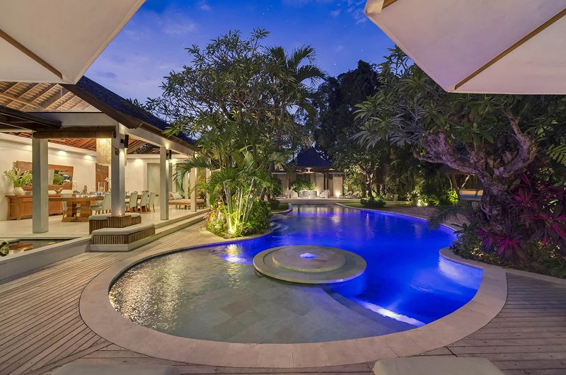 Lataliana Villas Swimming Pool at Night, Seminyak | 5 Bedroom Villas Bali