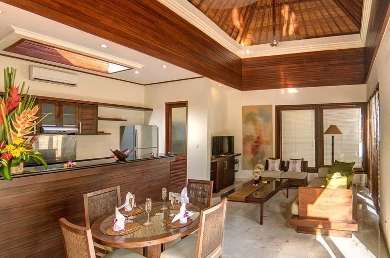 The Residence Indoor Living, Kitchen and Dining Area, Seminyak | 5 Bedroom Villas Bali