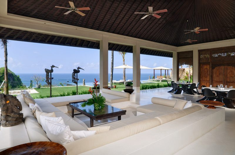 The Ungasan Clifftop Resort Villa Ambar Living Area with Pool View, Uluwatu | 5 Bedroom Villas Bali