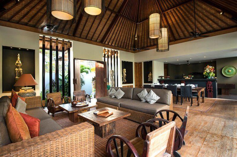 Villa Abakoi Living and Dining Area with Wooden Floor, Seminyak | 5 Bedroom Villas Bali