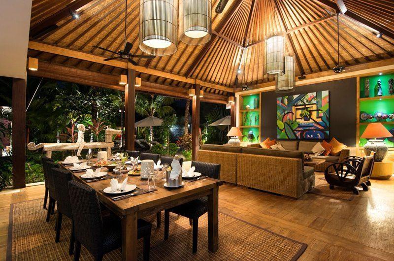 Villa Abakoi Living and Dining Area at Night, Seminyak | 5 Bedroom Villas Bali