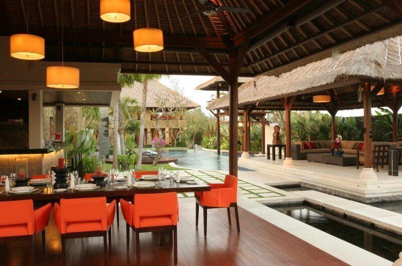 Villa Asta Dining Area with Pool View, Batubelig | 5 Bedroom Villas Bali