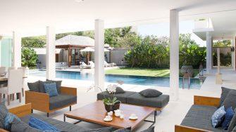 Villa Cendrawasih Living Area with Pool View, Petitenget | 5 Bedroom Villas Bali
