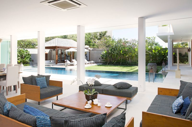 Villa Cendrawasih Living Area with Pool View, Petitenget | 5 Bedroom Villas Bali