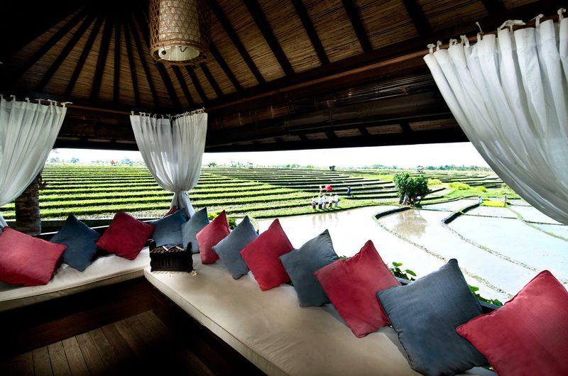 Villa Coraffan Outdoor Lounge Area with View, Canggu | 5 Bedroom Villas Bali