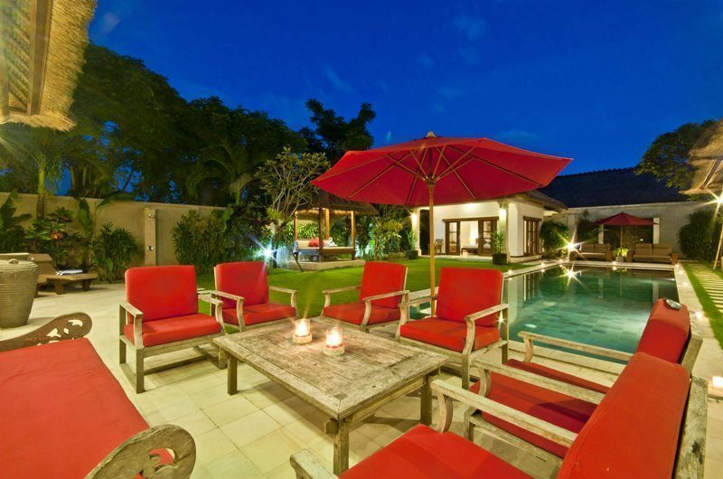 Villa Darma Outdoor Seating Area with Pool View, Seminyak | 5 Bedroom Villas Bali