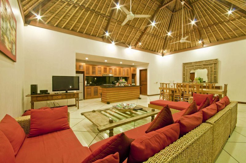 Villa Darma Living Area with TV, Seminyak | 5 Bedroom Villas Bali