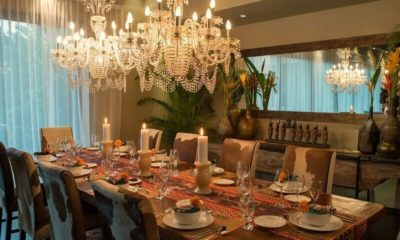 Villa Eshara Dining Area with Crockery, Seminyak | 5 Bedroom Villas Bali