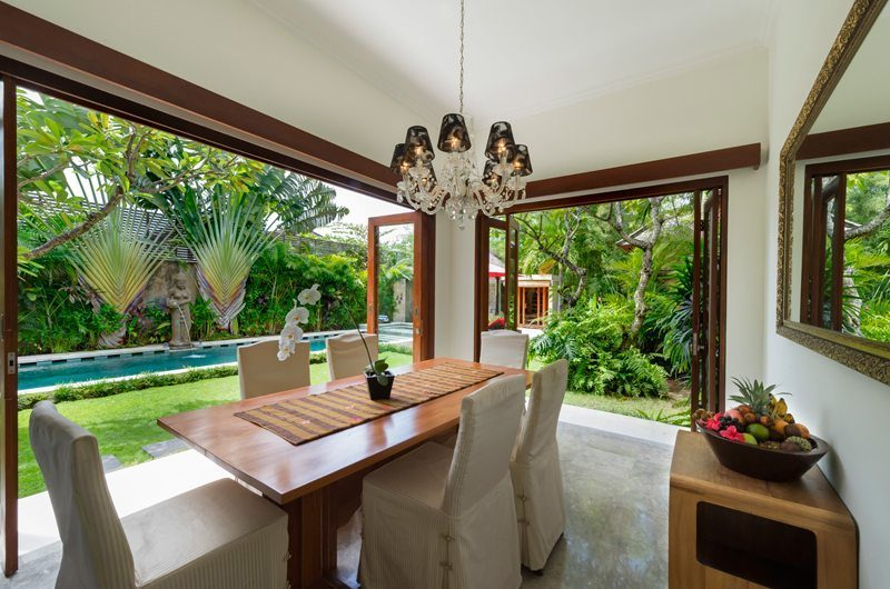 Villa Kalimaya Dining Area with Pool View, Seminyak | 5 Bedroom Villas Bali