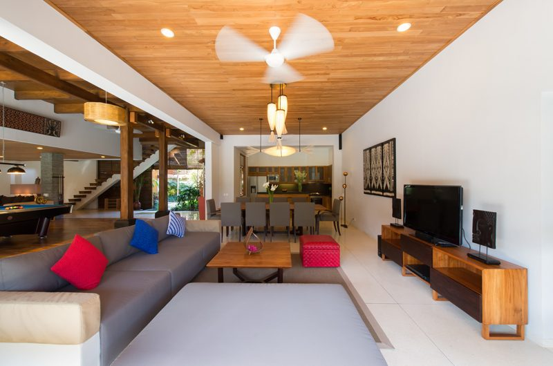 Villa Kinara Living Area with TV, Seminyak | 5 Bedroom Villas Bali