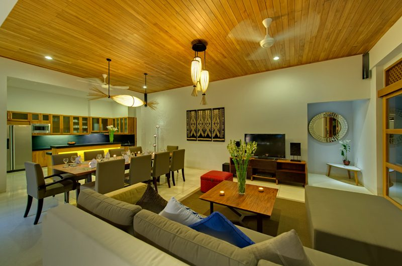 Villa Kinara Living and Dining Area with TV, Seminyak | 5 Bedroom Villas Bali