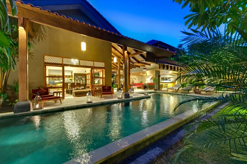 Villa Kinaree Estate Swimming Pool at Night, Seminyak | 5 Bedroom Villas Bali