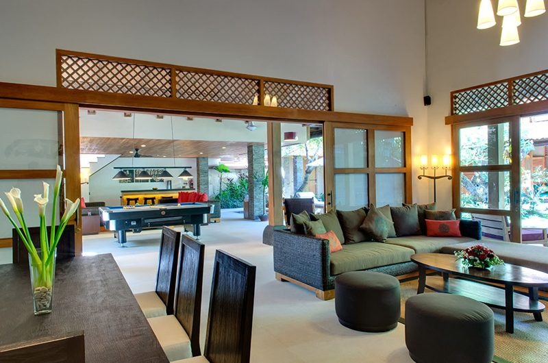 Villa Kinaree Estate Living and Dining Area with Billiard Table, Seminyak | 5 Bedroom Villas Bali
