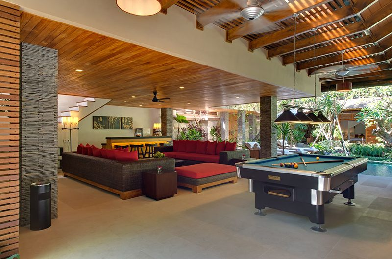 Villa Kinaree Estate Living Area with Billiard Table, Seminyak | 5 Bedroom Villas Bali