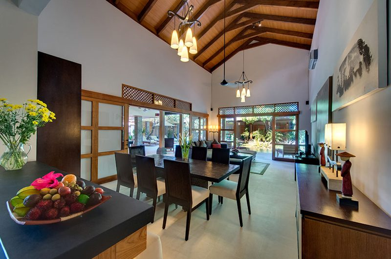 Villa Kinaree Estate Living and Dining Area with Garden View, Seminyak | 5 Bedroom Villas Bali