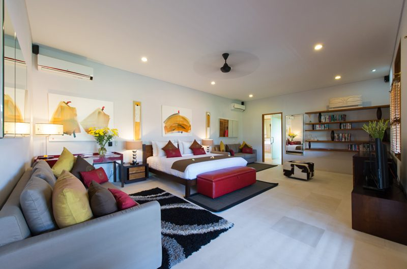 Villa Kinaree Estate Bedroom with TV and Sofa, Seminyak | 5 Bedroom Villas Bali
