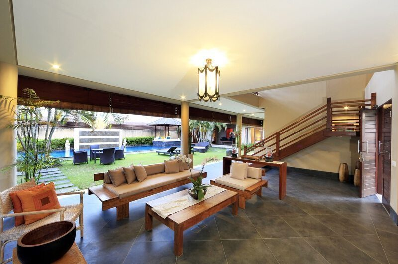 Villa M Bali Seminyak Living Area with Pool View, Petitenget | 5 Bedroom Villas Bali