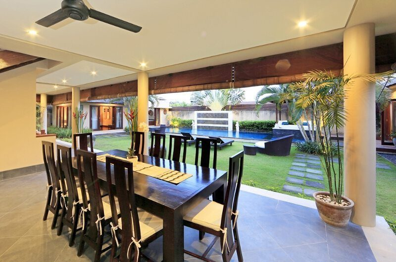 Villa M Bali Seminyak Dining Area with Pool View, Petitenget | 5 Bedroom Villas Bali