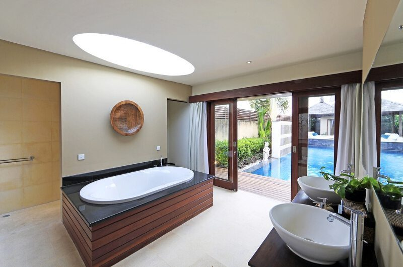 Villa M Bali Seminyak Bathroom with Pool View, Petitenget | 5 Bedroom Villas Bali