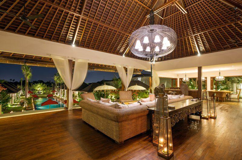 Villa Naty Living Area at Night, Umalas | 5 Bedroom Villas Bali