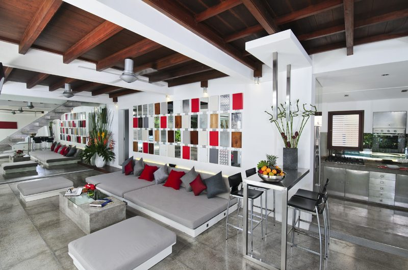 Villa Sabtu Living, Kitchen and Dining Area, Seminyak | 5 Bedroom Villas Bali