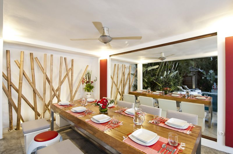 Villa Sabtu Dining Area with Pool View, Seminyak | 5 Bedroom Villas Bali