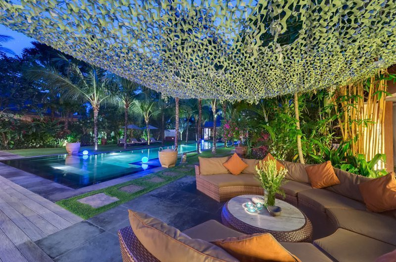 Villa Shambala Pool Side Seating Area, Seminyak | 5 Bedroom Villas Bali