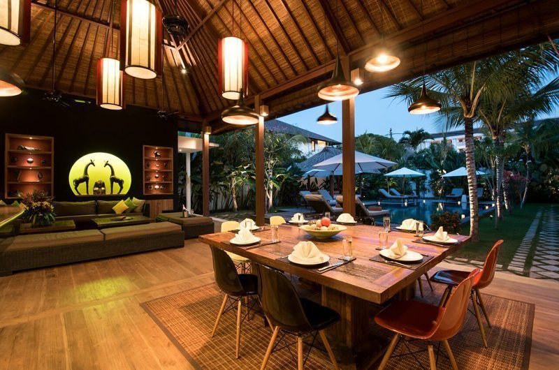 Villa Tangram Dining Area with Pool View, Seminyak | 5 Bedroom Villas Bali
