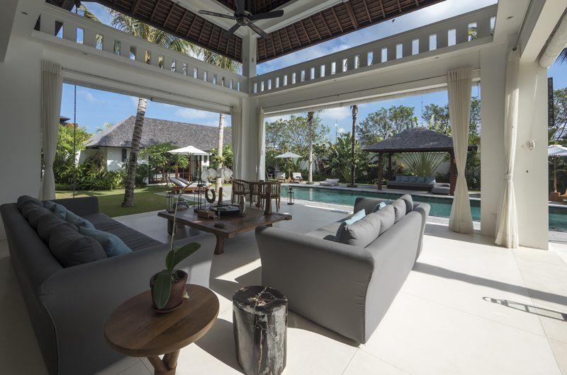 Villa Tjitrap Open Plan Living Area with Pool View, Seminyak | 5 Bedroom Villas Bali