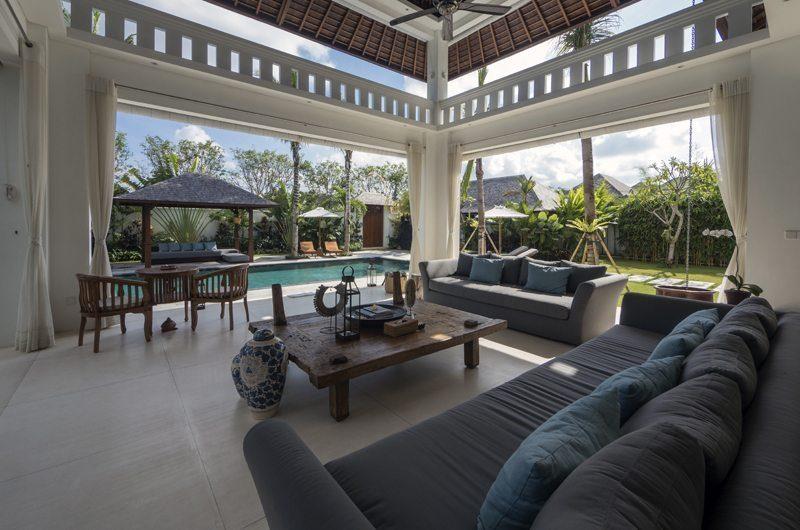 Villa Tjitrap Living Area with Pool View, Seminyak | 5 Bedroom Villas Bali