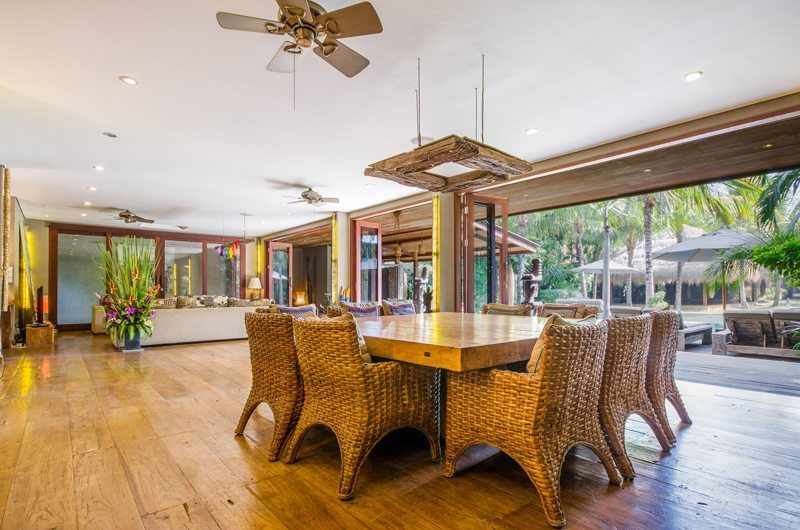 Villa Yoga Dining Area with Wooden Floor, Seminyak | 5 Bedroom Villas Bali