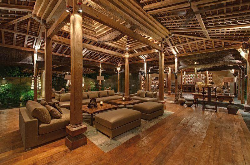 Villa Zelie Living Area with Wooden Floor, Canggu | 5 Bedroom Villas Bali